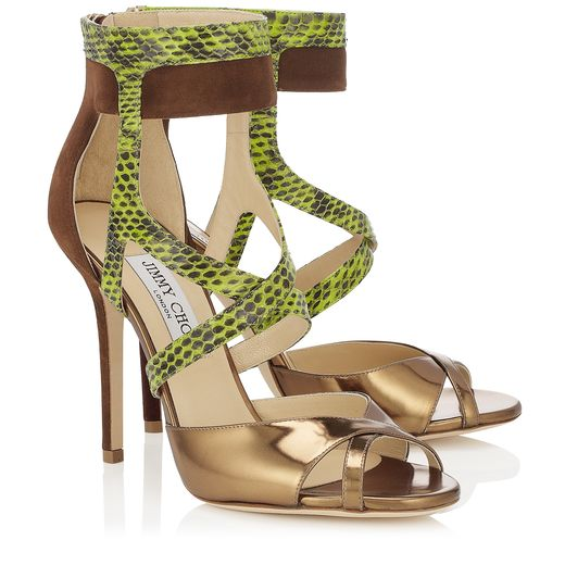 Jimmy Choo Spring/Summer 2014 - Freesia in Blusher, Natural and Anthracite Suede Gloss Elaphe and Mirror Leather Sandals