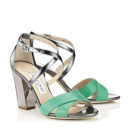 Jimmy Choo Spring/Summer 2014 - Monaco in Peppermint and Anthracite Mirror Leather