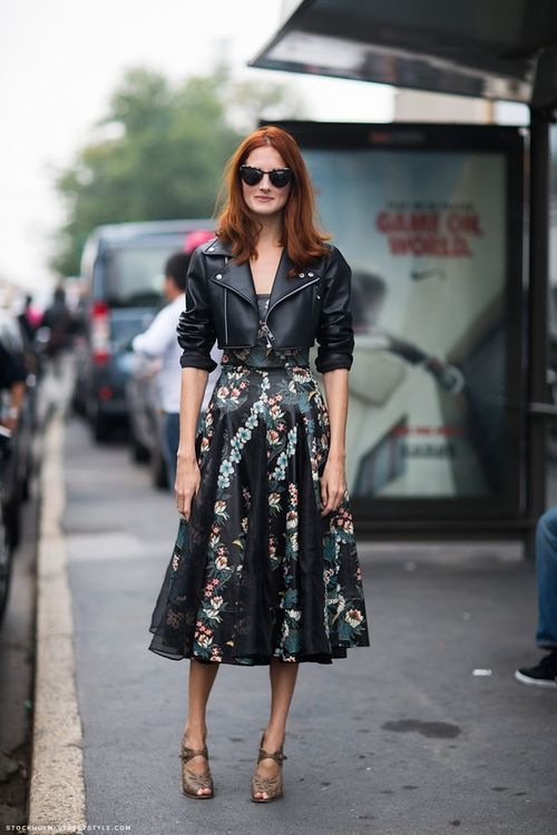 moto jacket with flowered dress