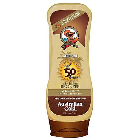 Australian Gold Moisture Max Sunscreen Lotion with Bronzer, SPF 50 $8