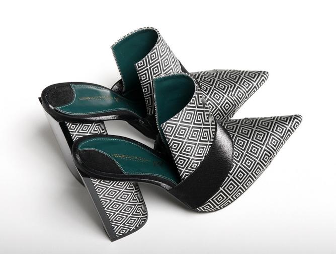 Christian Siriano Black and White Diamond Printed Mule