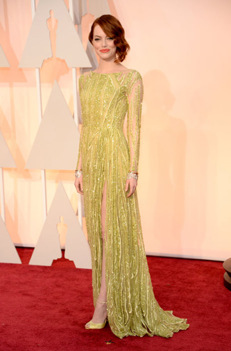 Emma Stone in a chartreuse Elie Saab gown at the 2015 Oscars