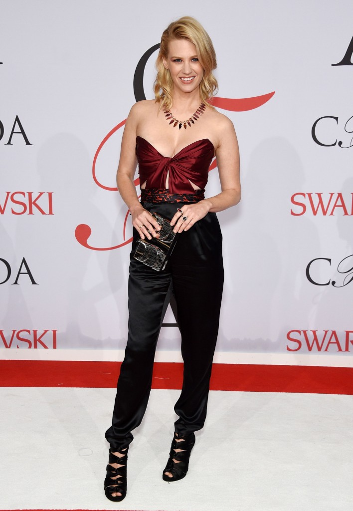 January Jones  in a J. Mendel pantsuit at the CFDA Awards 2015 (Getty Image)