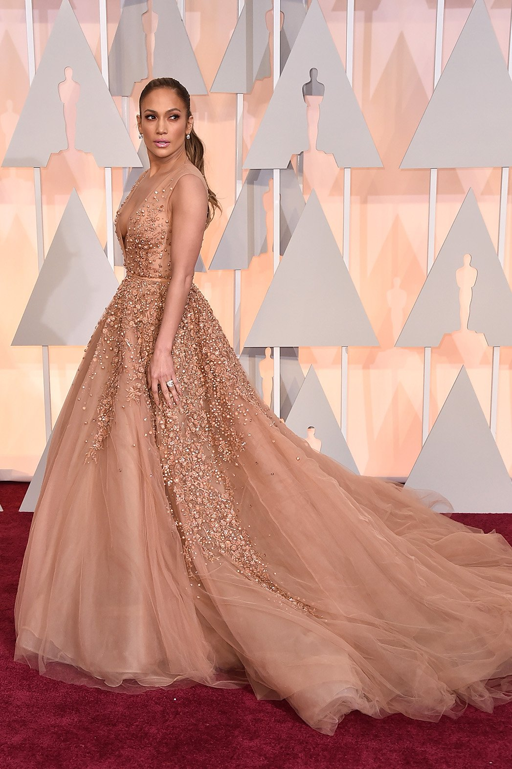 Jennifer Lopez in a tulle Elie Saab at the Oscars 2015