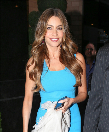 Sophia Vergara dressed for Madam Toussands in New York