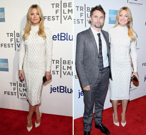 Kate Hudson in White pencil dress at the Tribeca Film Festival