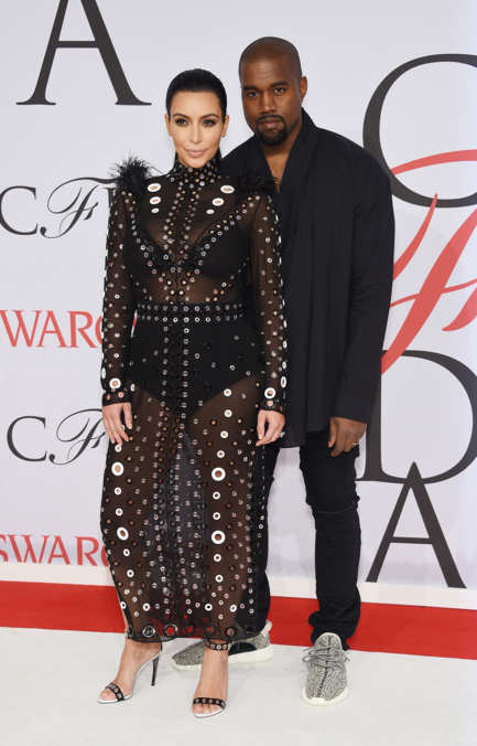Kim in Proenza Schouler and Kanye  at the CFDA Awards 2015 (Getty Image)