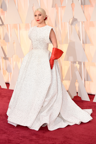 Lady Gaga in Azzedine Alaia at the Oscars 2015
