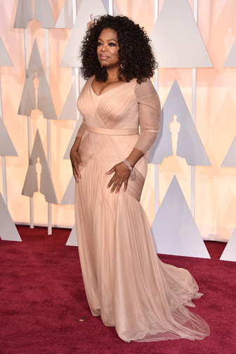 Oprah in custom Vera Wang at the Oscars 2015