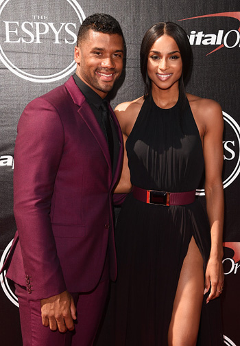 Russell Wilson with Ciara and at The 2015 ESPYS (Photo by Jason Merritt/Getty Images)