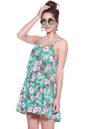 Foreign Exchange Tropical Print Babydoll Dress