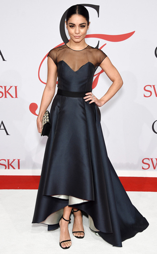 Vanessa Hudgens in a Sachin and Babi gown Jhene Aiko in a Prabal Gurung gown at the CFDA Awards 2015 (Getty Images)